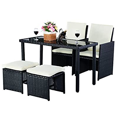 Costway 5pc Patio Rattan Set Outdoor Dining sets Garden Furniture Table+2x Ottomans+2x Chairs