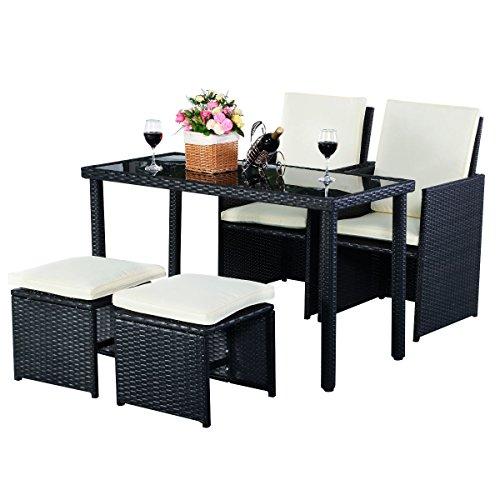 5tlg Gartenmöbel Polyrattan Lounge Set Esstisch Set Rattanmöbel Gartensitzgruppe Essgruppe Gartengarnitur Gartenset Tisch Stühlen Hocker Garnitur inkl. Kissen