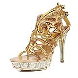 Honeystore Damen Kunstleder Stöckel Absatz Pfau Sandalette Slingpumps mit Strass Schuhe Gold 41 CN