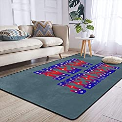 Heteyys New Jersey Indoor Floor Mat Living Room Household Carpet Children Play Mat Rectangle Carpet 84x60 in,Black,One Size