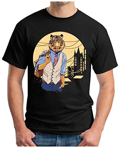 OM3 - HIPSTER-TIGER - T-Shirt GEEK, S - 5XL Schwarz
