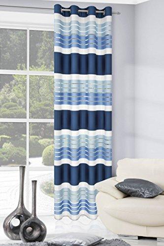 Eurofirany zas/eric/gran+ni tenda eric con occhielli, a righe, 140 x 250 cm, colore blu scuro/blu