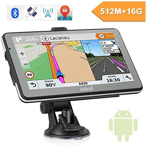 Hieha 7 Zoll GPS Navi Navigation Navigationssystem für LKW PKW 16GB 512MB Bluetooth Andriod Navigationsgerät Kostenloses Kartenupdate POI Blitzerwarnung Sprachführung Fahrspurassistent 2018 EU Karten