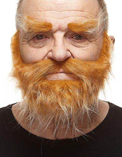 Kostüm Roten Gefälschte Bart - Realistischer honigfarbener Trapper fälschen, selbstklebend Bart, Schnurrbart und Augenbrauen