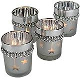 Decoline Teelicht-Halter 4 Stück aus Glas Silber mit Kristallen