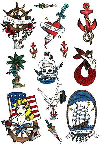 Temporäre Tattoos von Tatsy, Motiv: Matrose, Seemann, Marine   Cooles, einzigartiges, originales Old-School-Design, Spaßige Party-Tattoos, Abziehtattoo, Body-Art, Verkleidung, für Männer