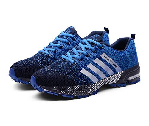 Goalsse Uomo Donna Scarpe da Ginnastica Sportive Running Fitness Sneakers Traspiranti Outdoor Respirabile Mesh Casual Sneakers (45 EU, Blu)