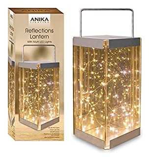 Anika Glass Reflections Lantern with 30 Warm White Battery Operated LED Rice Lights