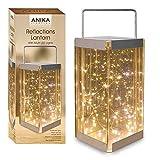 """""""Reflections"""" Laterne mit LED Reislichtern, batteriebetrieben, Glas, transparent, 30warmweiße Lichter, von Anika 62190"""