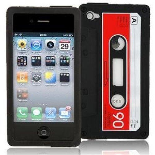 OBiDi - 3D Cassette Coque en Silicone / Housse pour Apple iPhone 4S / Apple iPhone 4 - Noir Noir