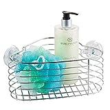 mDesign Estante esquinero para baño de acero inoxidable – Práctico soporte de ducha para guardar las esponjas, el gel y el champú – Sin taladro – Color: plateado