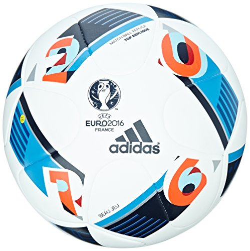 adidas Herren Ball EURO 2016 Top Replica X, White/Bright Blue/Night Indigo, 5, AC5414