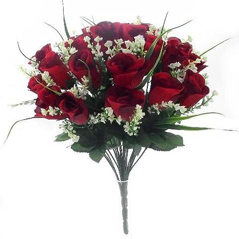 42cm seta artificiale rosa rossa e erba Bush con gypsophila e fogliame heads- Fiore, 24–25Grave decorazione