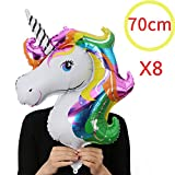 NIGHT-GRING 8x Aluminium Regenbogen Einhorn Luftballon Regenbogen Ballon Kindergeburtstag Geburtstag Unique Party Supplies Deko Folienballon(70x46cm)