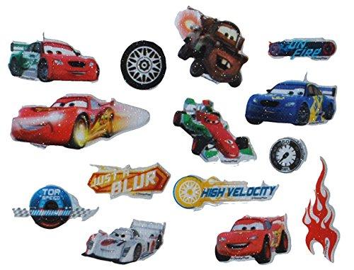 14 tlg. Set 3-D Sticker / Aufkleber - Disney Auto Cars - auch für Textilien Stoff Metall Papier - fest - Lightning Mc Queen / Mcqueen Fahrzeug Francesco z.B. für Stickeralbum - für Kinder Jungen