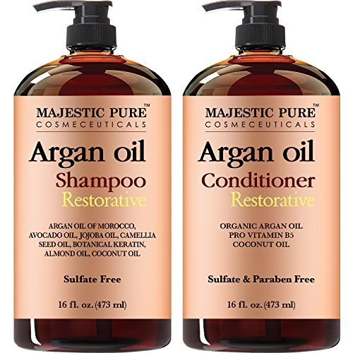Majestic Pure Argan Oil Shampoo & Conditioner Set, Sulfate Free, Vitamin Enriched, Volumizing & Gentle Hair Restoration Formula for Daily Use, For Men and Women, 16 fl oz each