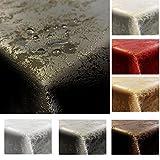 JEMIDI Tischdecke Stofftischdecke melierter Glanz Optik und Lotus Effekt Tafeldecke Tischdecken Decke Tisch Gartentischdecke Hellgrau 135cm x 180cm Oval - 2