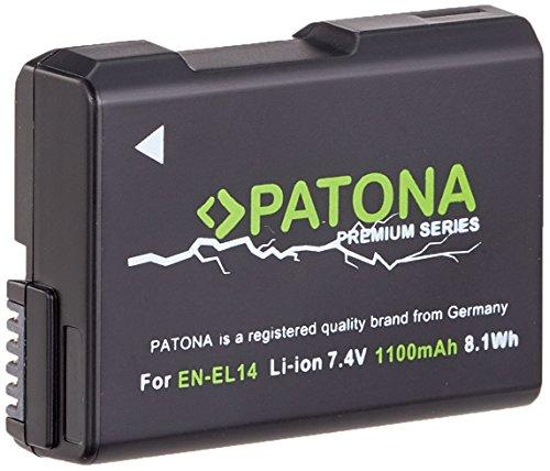 Für Nikon D3100 D3200 D3300 D3400 D5100 D5200 D5300 D5500 D5600 und Coolpix P7800 P7700 PATONA PREMIUM Akku für Nikon EN-EL14 EN-EL14a - Intellig. Akkusystem - (echte 1100mAh)
