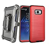 SOUNDMAE Samsung Galaxy S7 Belt Clip Holster Case, [Heavy Duty] Case, Hybrid Dual Layer [Shock Absorbing] Armor Defender Protective Case with Belt Clip Kickstand Holster [Red]