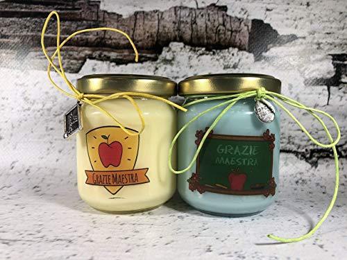 Grazie Maestra 2 vasetti con candele di cera di soia e oli essenziali - Regalo per la Maestra Fine anno scolastico Ritorno a scuola Regalo di Nat