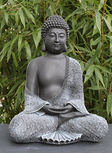 Buddha Figur aus Stein sitzend in Schiefer, Grau, Statue frostsicher und wetterbeständig für Garten und Balkon, handgefertigt in Deutschland