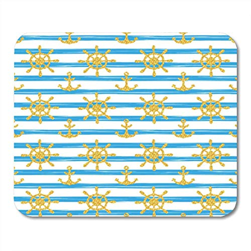 AOCCK Gaming Mauspads, Gaming Mouse Pad Seamless Nautical Pattern with Glittering Golden Anchors and Ship Wheels 11.8
