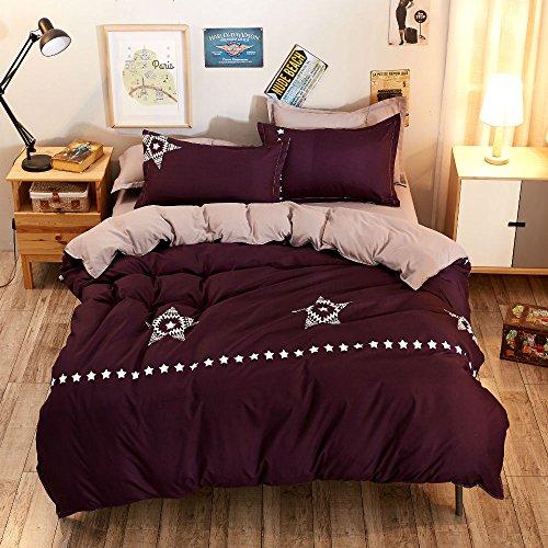 Betten Set, Stillshine 4 Stück Lightweight Microfiber Bettwäsche-Set Bettwäsche Set, King Size, 220x240CM (Sterne Lila) King-size-böhmischen Tröster Set