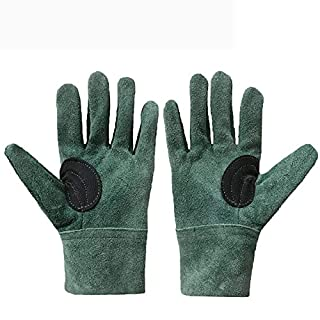 QEES Professional Garden Gloves Welding Working Gloves for Women and Men Thicken Leather Pruning Thornproof Gloves for Gardening, Roses & Yard Work YLST09