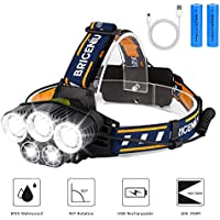 BRIGENIUS Head Torch, LED Headlight Rechargeable Waterproof, Super Bright HeadLamp with 6 Modes, 90° Adjustable Hands-free Flashlight Torch for Fishing Hiking Camping Running Cycling Repairing Work