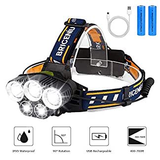 BRIGENIUS Head Torch, LED Headlight Rechargeable Waterproof, Super Bright HeadLamp with 6 Modes, 90° Adjustable Hands-free Flashlight Torch for Fishing Hiking Camping Running Cycling Repairing Work 6