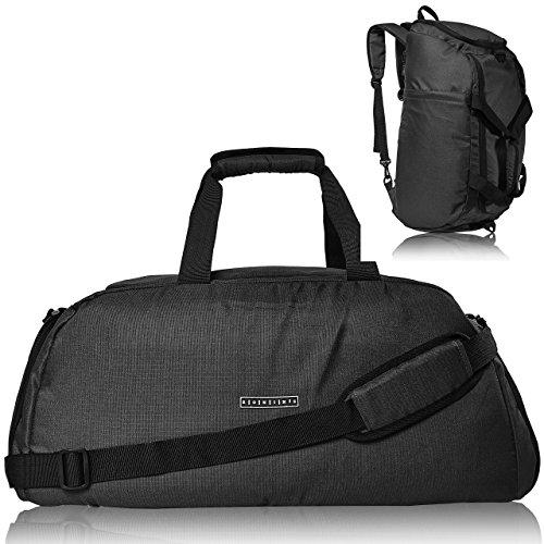 ronin's 3in1 Sporttasche Reisetasche mit Schuhfach + Rucksack-Funktion + Laptopfach | 38 Liter Handgepäck Weekender | für Männer und Frauen | (Space Grey)