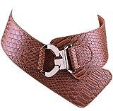 Damen Frauen PU Leder Gürtel Mode Strukturierte Einfarbig Breite elastische Gürtel Tailleband (Braun)