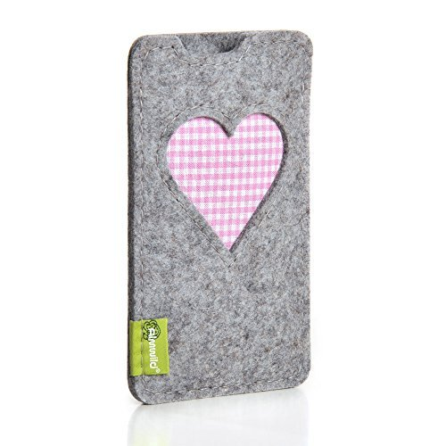 ALMWILD® Hülle, Tasche für Apple iPhone 7 PLUS, 6s PLUS. Aus Natur- Filz in Alpstein- Grau mit Herz. Handyhülle in Bayern handgefertigt.