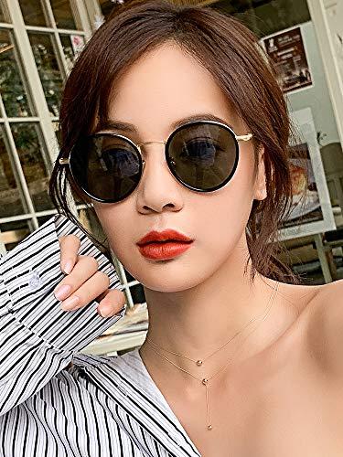 MQKZ 2019 Neue Sonnenbrille Frauen Netz Persönlichkeit Red Star Street Rund Sonnenbrille Gesicht (Red Star Sonnenbrille)