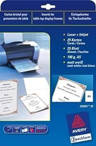 Avery - Boîtes à fiches - Bristol personnalisable Avery - POCH 25 BRISTOL PERSO A5 PLIE 190GR