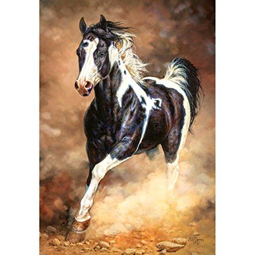 alles-meine.de GmbH Puzzle 1000 Teile -  Spirit Unbroken  - galoppierendes Pferd / Pinto - Wildpferd - gescheckter Hengst Staub - Galopp Pferde Stute Araber Schimmel - Mustang ..