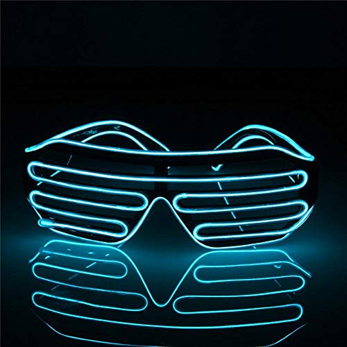 E-CHENG LED Glow EL Glasses Shades Light Up Flashing Blink Sunglasses Bar Party Rave Hot Flashing Shutter Neon Rave Glasses (Blue)