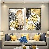 Carteles de pintura de lienzo de hoja dorada de estilo nórdico e impresión moderna decoración cuadros de...