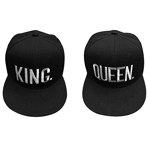 Vientiane King & Queen Kappe Basecap, 2 Stück Verstellbar Hüte Mütze Basecap Baseball Cap Kappe, Camouflage Caps für Unisex Männer Damen Liebhaber Paare Bestickte Rapper Cap Baseballmütze (Schwarz)