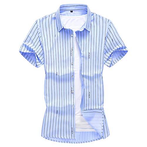 BHYDRY Mens-Sommer-Art- und Weisehemden beiläufige Kurze Hülsen-Strand-Oberseiten lösen beiläufige Bluse