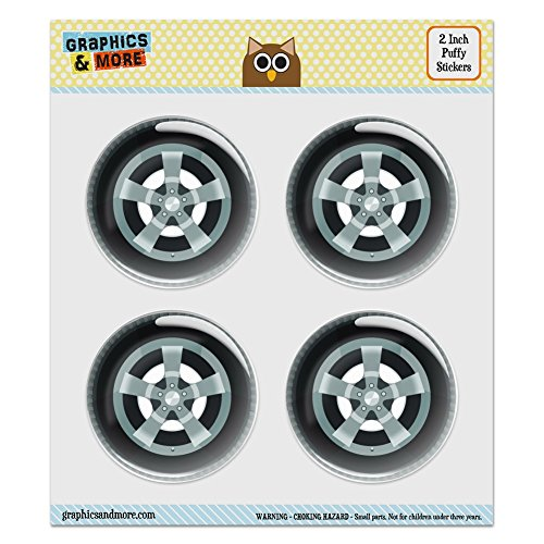 Puffy Bubble Dome Scrapbooking Crafting Stickers - Tire - Set of 4 - 2.0