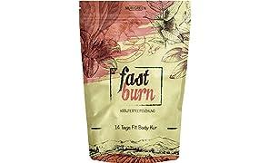 Fast Burn - schnell und wirksam - 14 Tage Body Tee Kur - 100% natürliche Kräuterteemischung - Grüner Tee, Rooibostee, Ingwerwurzel, Mateblätter - Hergestellt in Deutschland - für Frauen und Männer - auch ohne Sport - vegan - Nurigreen