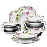Veweet 'Ashley' Servizio di porcellana 36 pezzi tavola in porcellana Piatto per 12 persone | con 12 piatti da dessert, 12 piatti fondi e 12 piatti piani