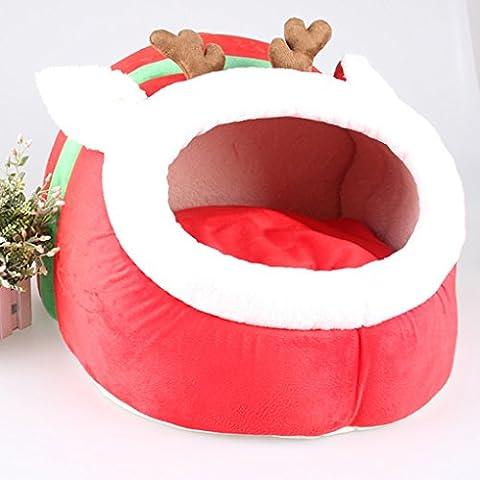 QHGstore Pet Dog della base della stuoia del cucciolo Cuscino Renna Cat House Pet morbida coperta calda Kennel
