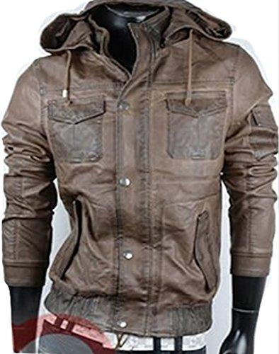NEW bRAMS veste pour homme en cuir synthétique taille m l xL xXL 3XL Marron - Marron