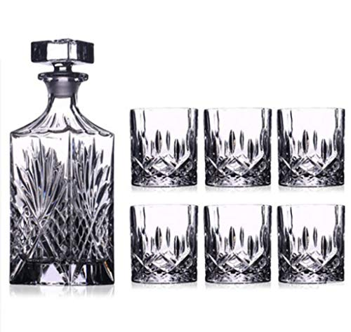 Yycdd bicchiere da vino, cristallo bicchiere da whisky decanter boccale da birra resistente al calore confezione regalo in vetro, set da 7 pezzi