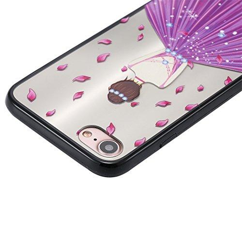 iPhone 7 Spiegel Hülle, Rosa Schleife Weiche TPU Silikon Schutzhülle Handyhülle Backcover Glitzer Mirror Cases mit Schmetterling schönes Mädchen Muster Design für iPhone 7 Lila Schmetterling Kleid Lila Petals Mädchen
