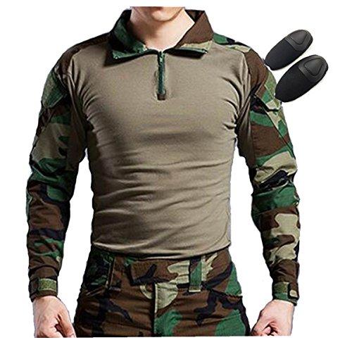 Tactical Jagd Militär Lange Ärmel Shirt mit Elbow Pads woodland Forest Camo, Woodland (T-shirt Kids Woodland Camouflage)