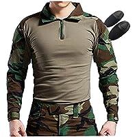 H World EU Tactical Hunting Camisa de manga larga militar con coderas (Woodland, XL)