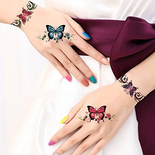 1 Arm Blättern (TAFLY Schmetterling Armbänder Hand & Handgelenk & Arm Tattoos Fake Butterfly Temporäre Tattoos Transfer Körper Kunst Tattoos für Mädchen und Frauen 5 Blätter)